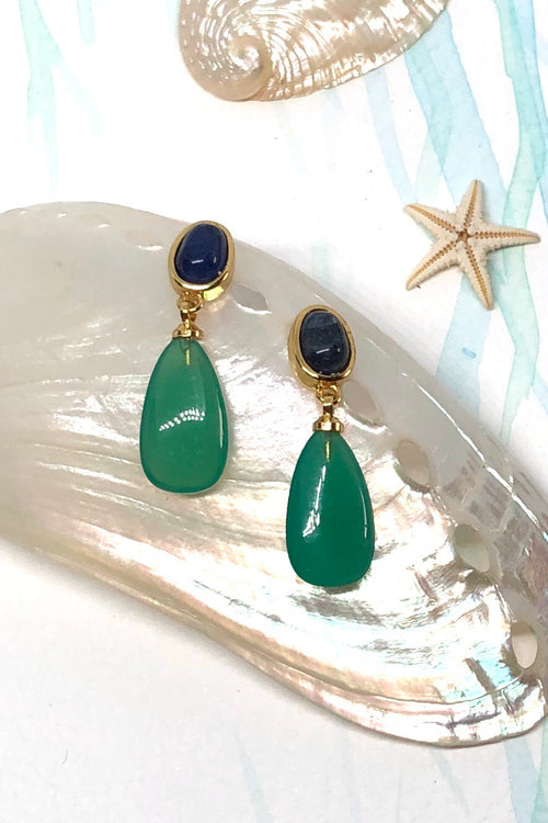 Earrings Ado Green Onyx