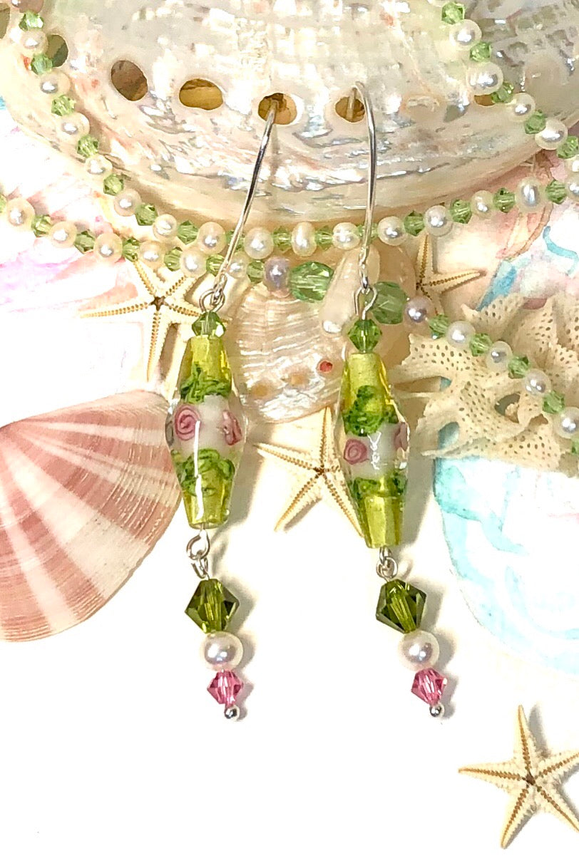 Earrings Serendipity Venetian Yellow are handmade earrings featuring yellow and pink lamp work beads, Swarovski Crystal, Pearl, 925 Silver Hook.