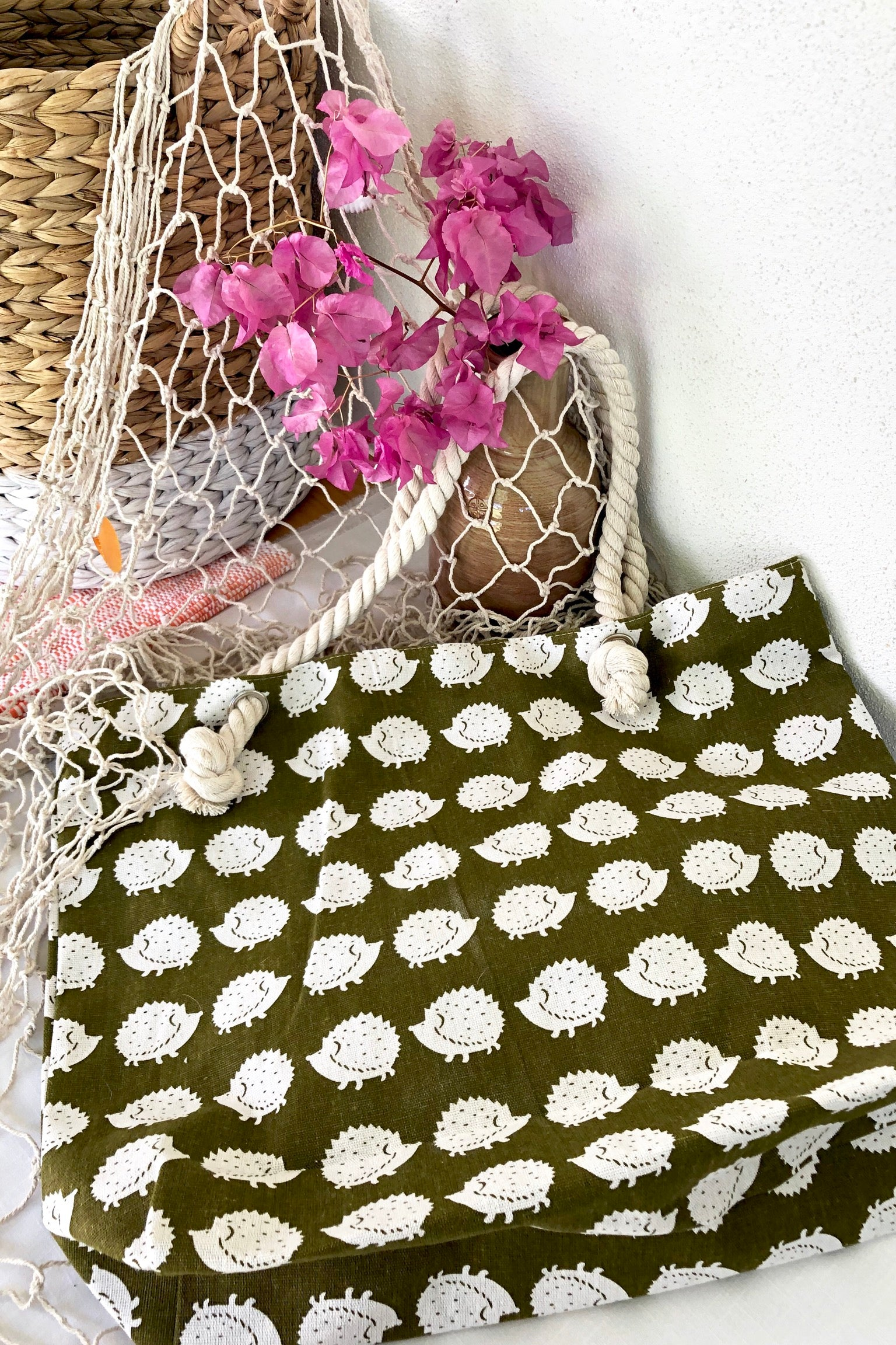 Yeah Canvas Beach Bag in Hedgehog or Deer