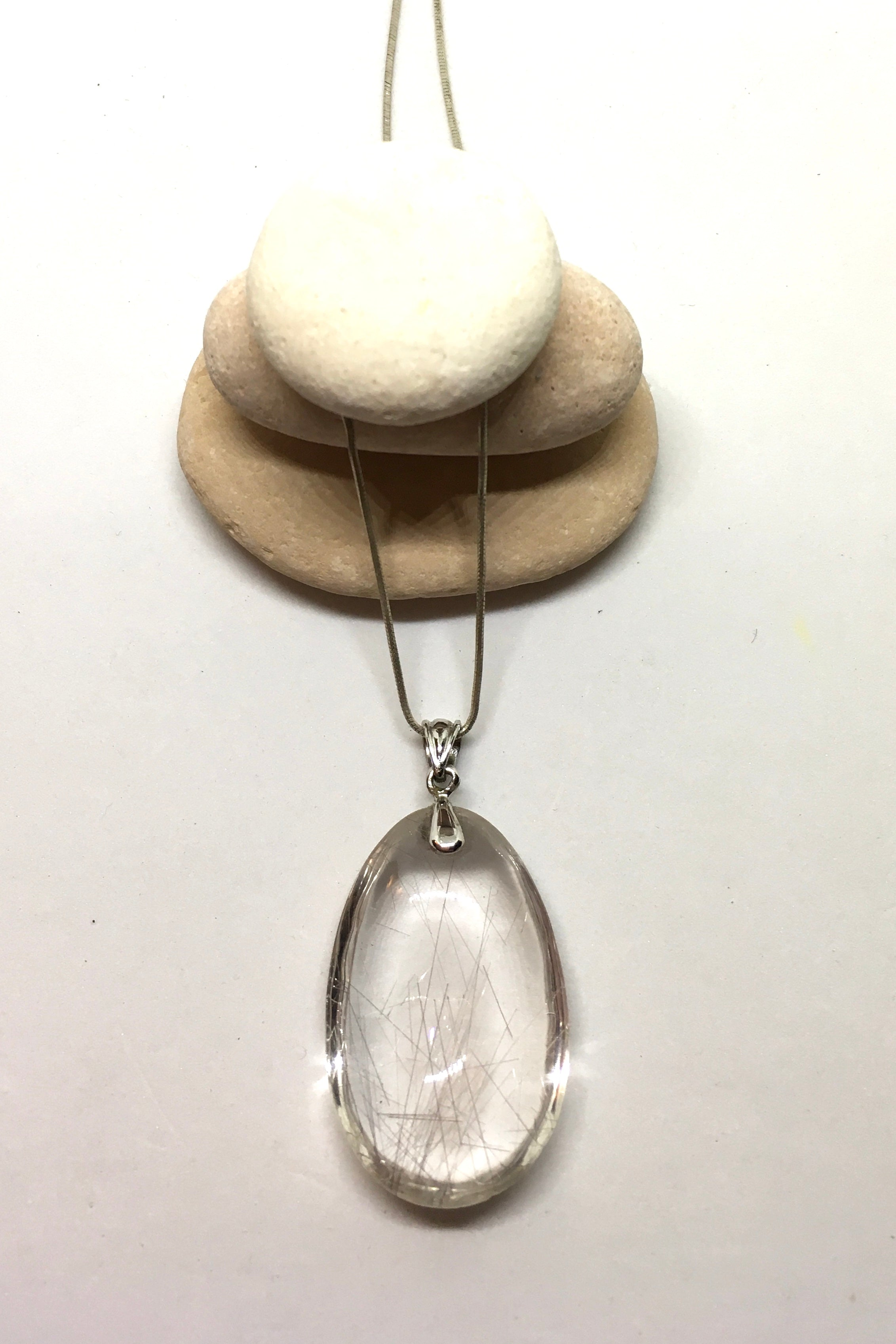 Pendant of Rutilated Quartz Crystal on a Silver Chain 2