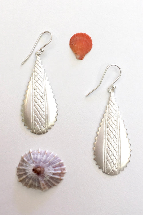 Silver Crosshatched Earrings