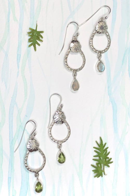 Oracle Earrings Garden Swing Peridot or Moonstone