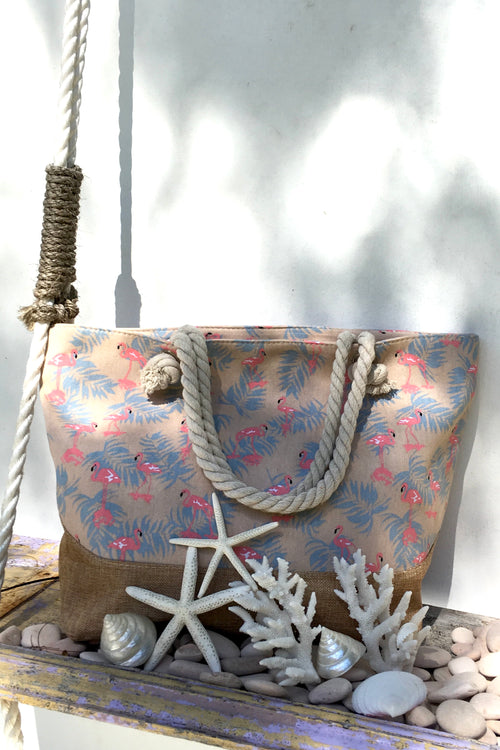 Yeah Canvas Beach Bag Flamingo Jungle Pink and Beige