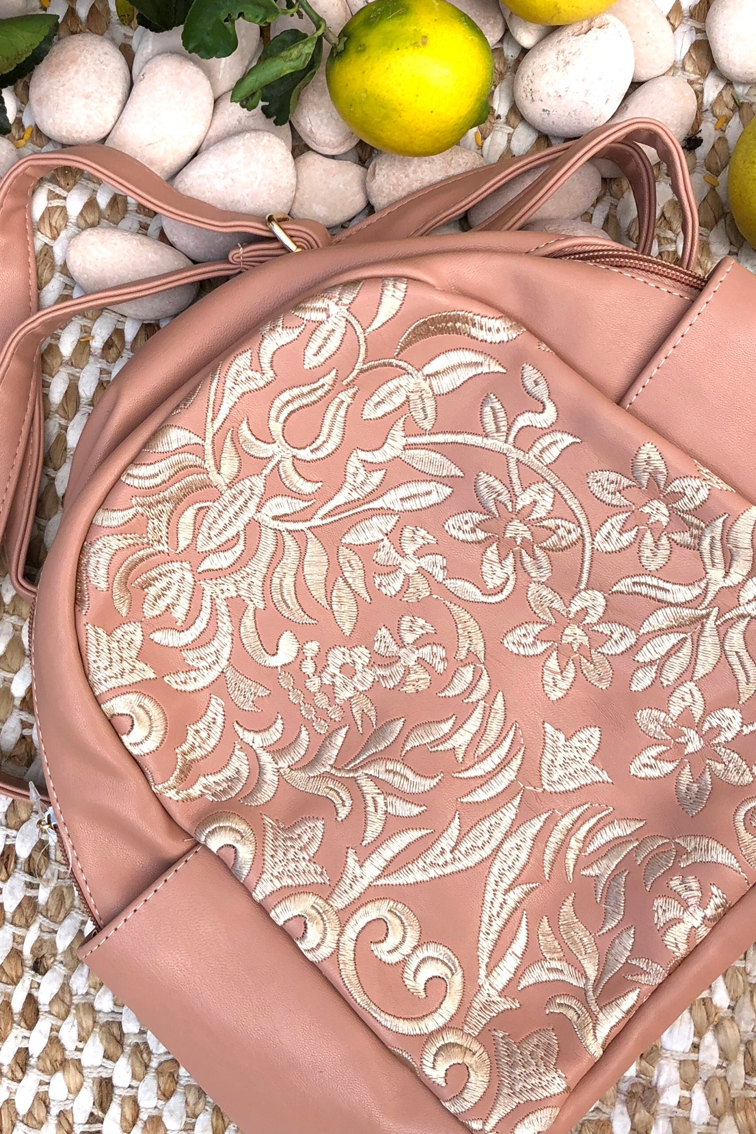 Yeah Bag Boho Backpack Dusty Pink, with embroidery.