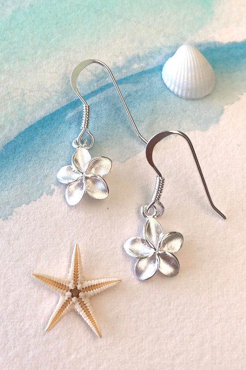 Oracle Silver Seas Earrings Tiny Hibiscus