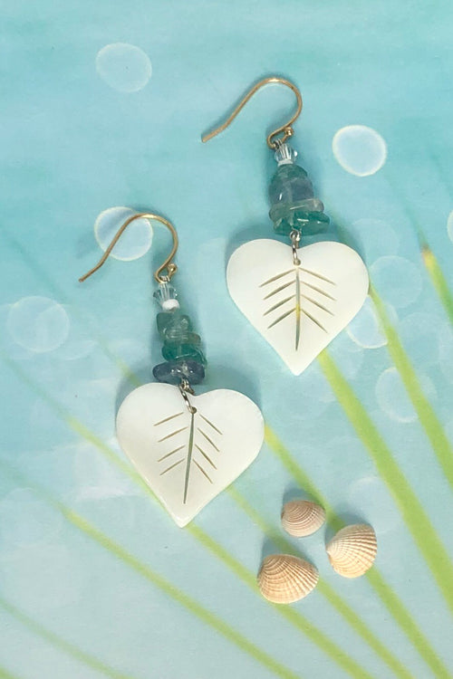Earrings Serendipity Love Leaf Shell
