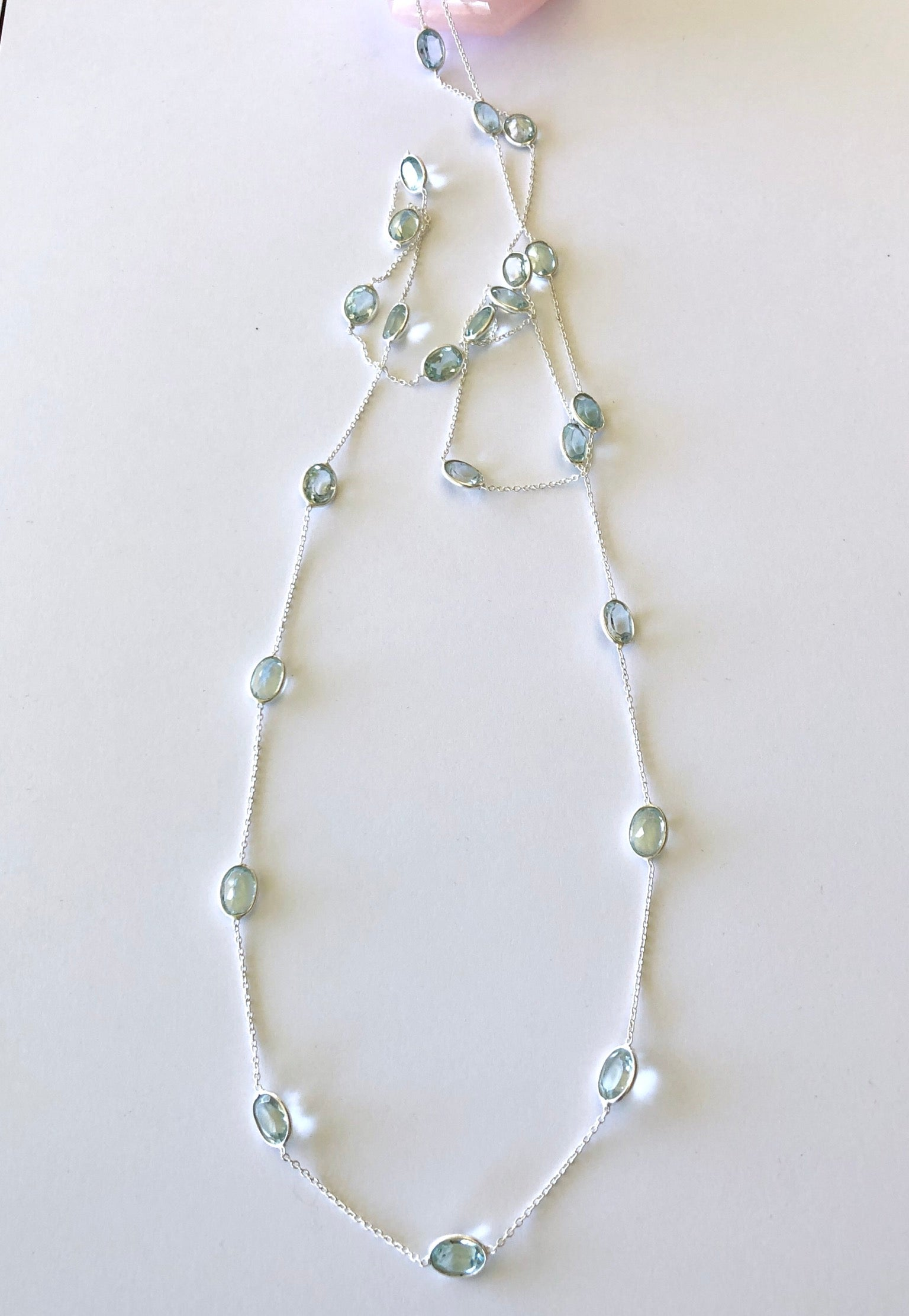blue topaz stones all around a silver chain necklace