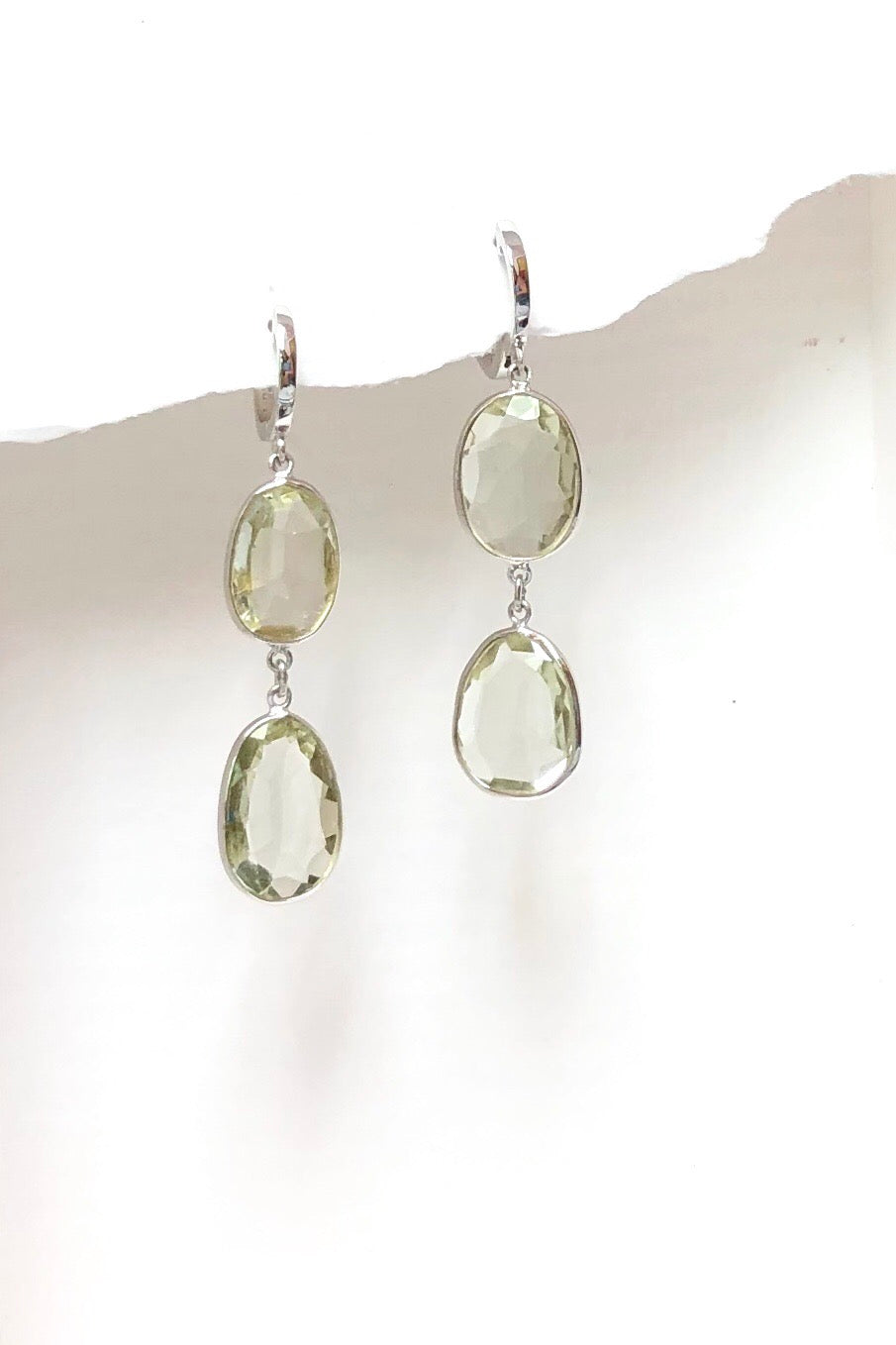 Earrings Trina in Silver and Pale Mint Quartz, semi precious gem earring