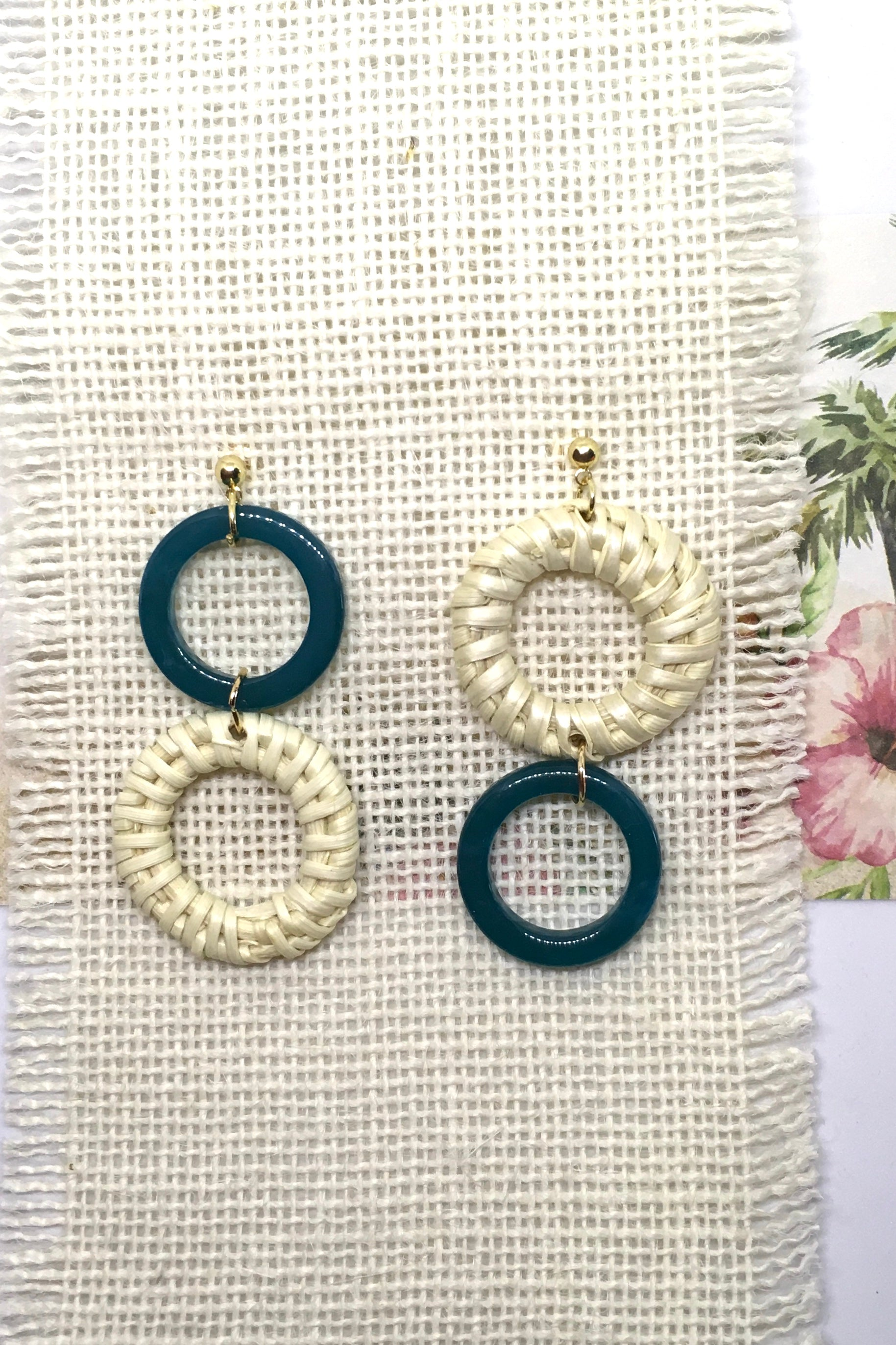 Earrings Rattan Circles with Teal