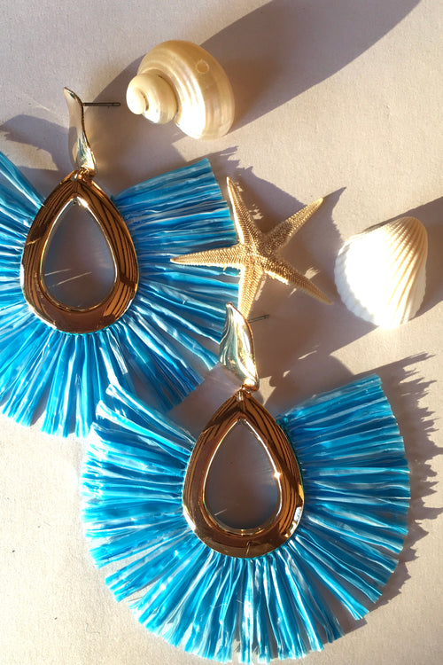 Earrings Raffia Sky Blue