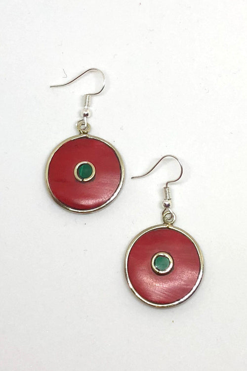 Earrings Paloma Circle in Coral Red Colour