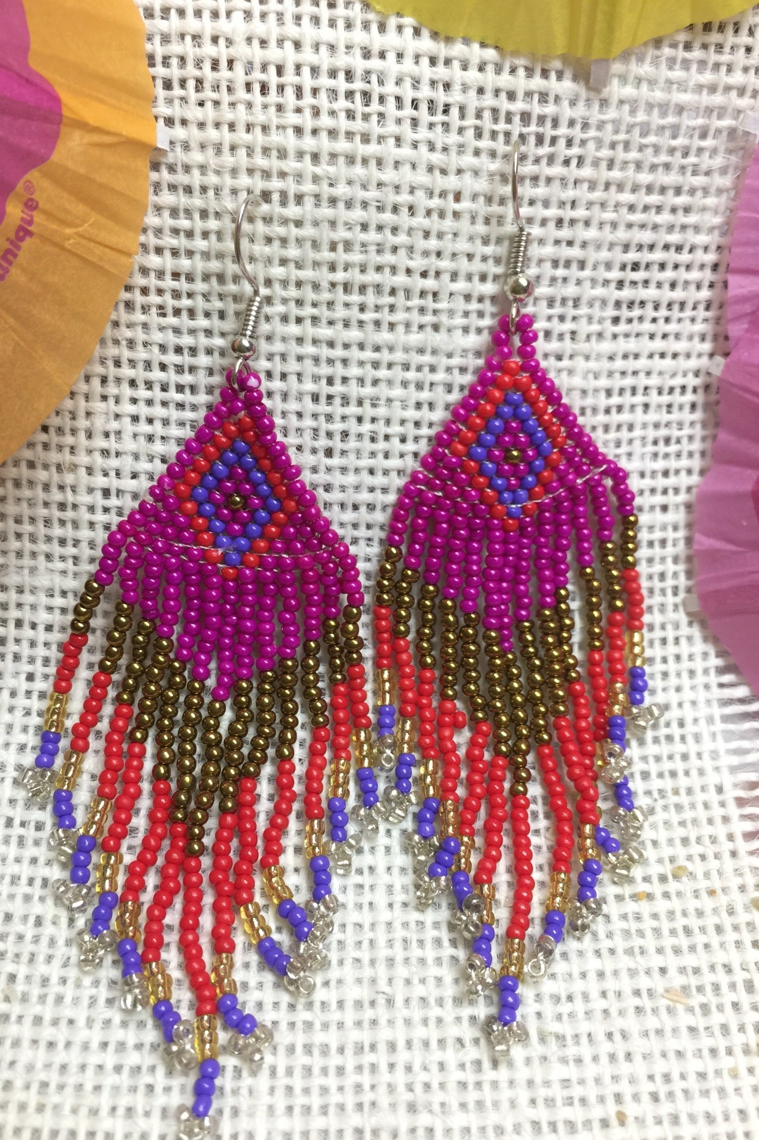 Earrings Rainbow Boho Seeds Tassels in Pink, seed bead earrings, peyote earrings, Ibizia style jewellery