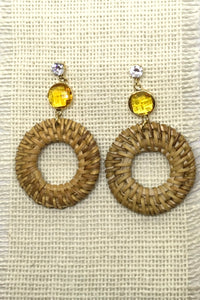 Earrings Rattan Circle with Gold Stone Detail
