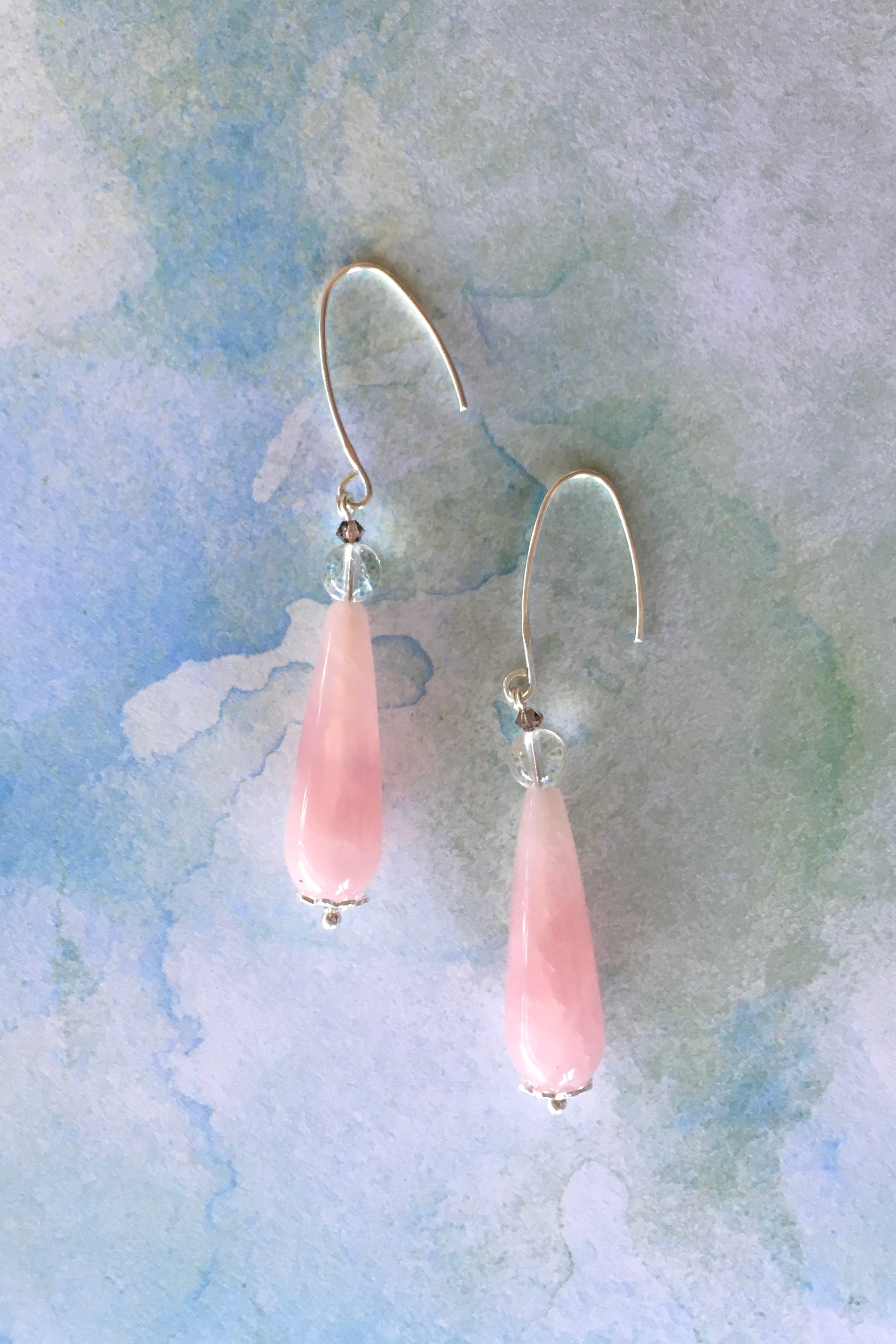 Women's jewellery. Rose quartz moonstone crystal drop earrings, drop style  bohemian and gypsy inspired sea blue stones in a teardrop shape. 925 silver hook. Great for everyday, night out, event, occasion. Beautiful gift and accessory. Lightweight. Designed in Brisbane Australia.