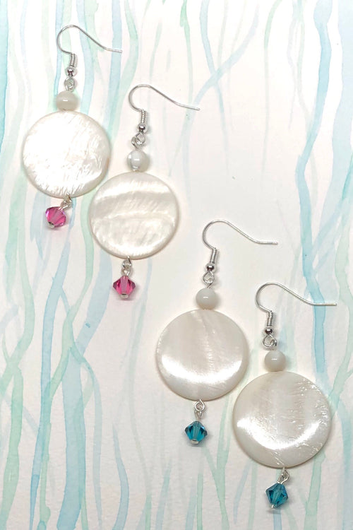 Earrings High Tide Shell Rondo Teal or Pink