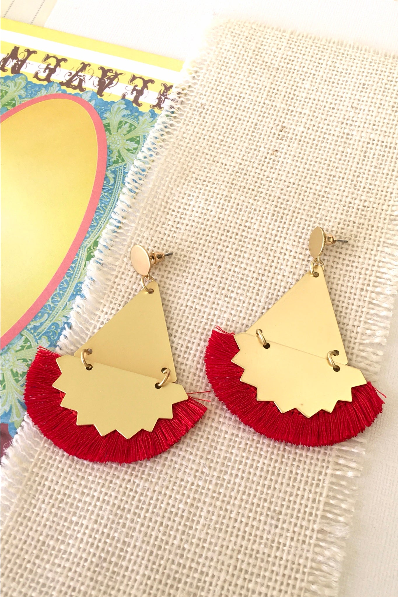 Earrings Y Red Ziggy, bright red party earrings