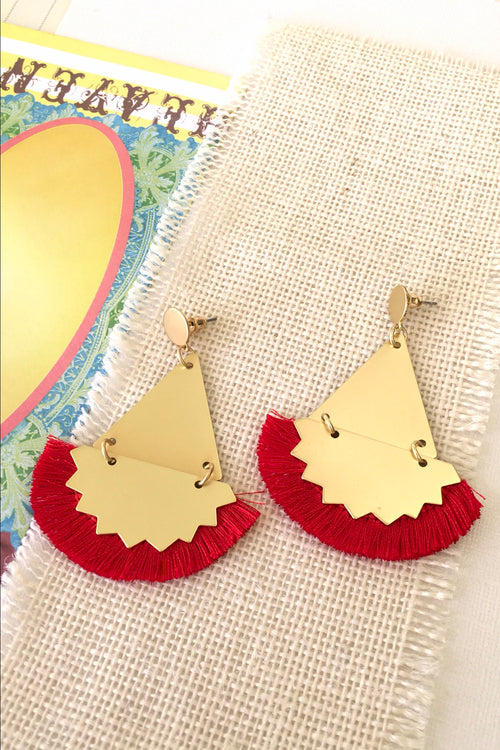 Earrings Y Red Ziggy