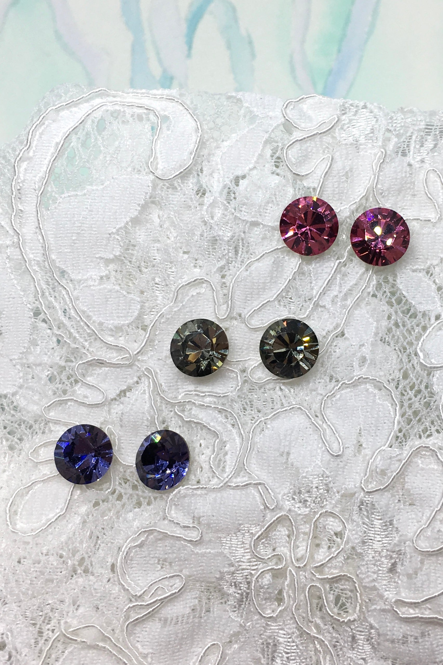 Earrings Crystal Stud in Pink, Smoky grey or Tanzanite Mauve, wedding style jewellery