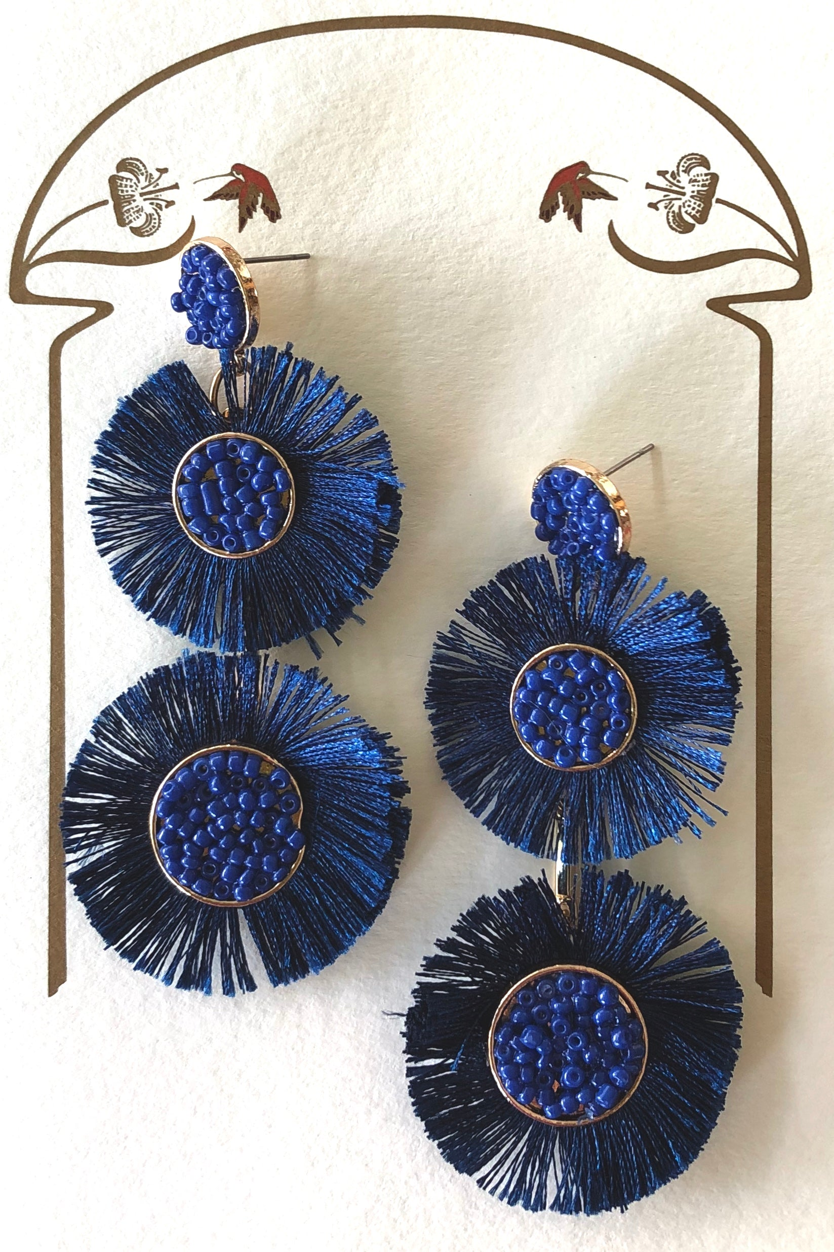 Earrings Lora Rosette with Dark Blue Fringe, Blue Boho Luxe Earrings