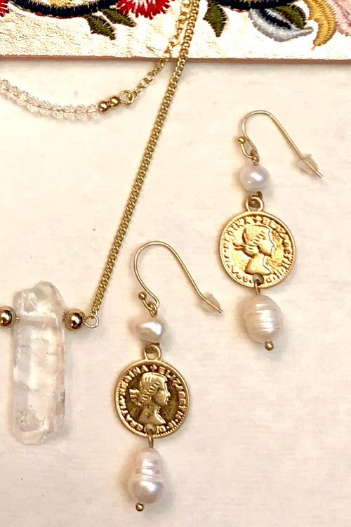 Earrings Pearly Coin