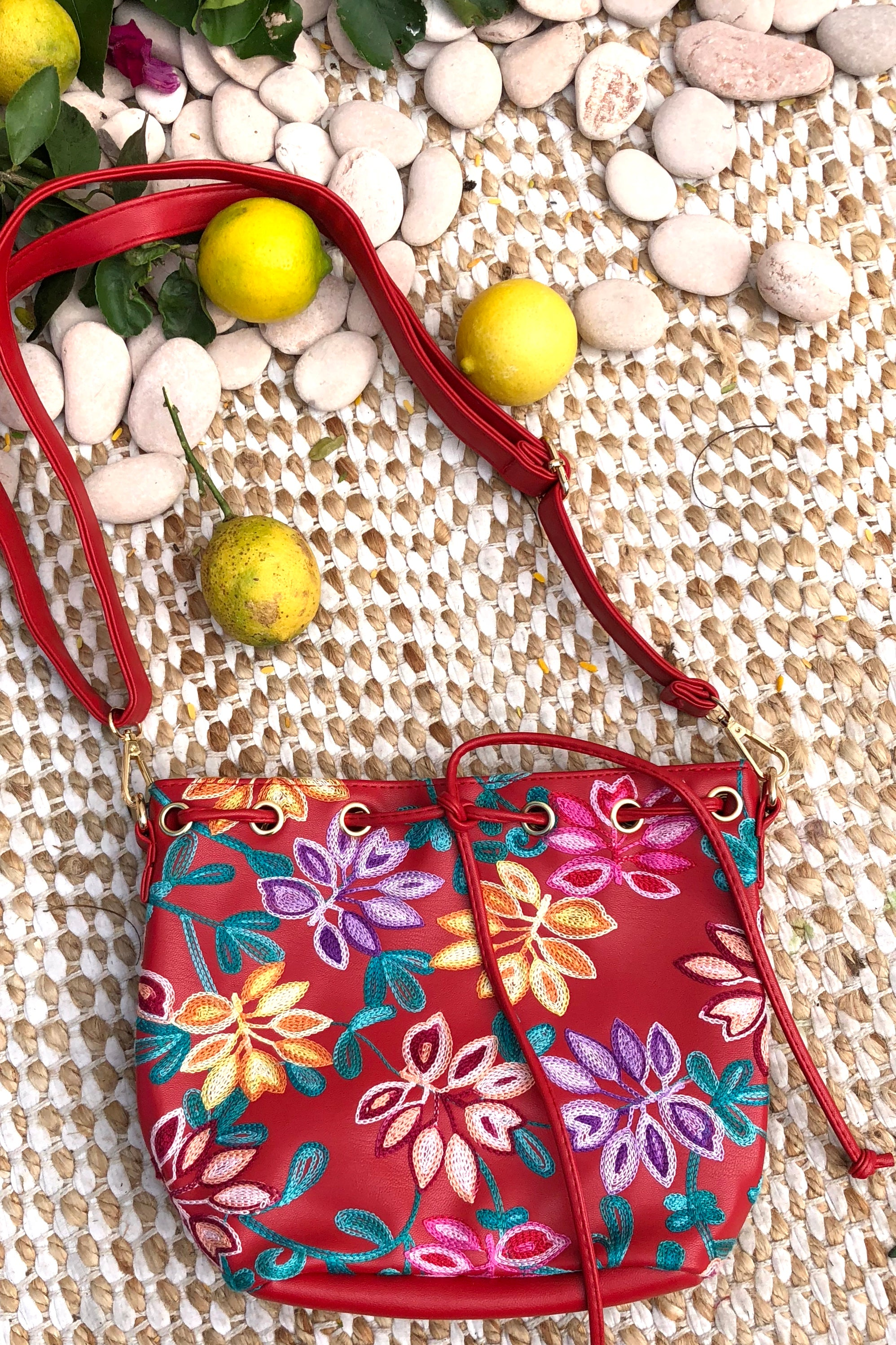 Yeah Bag Boho Colours in Red Vegan Leather