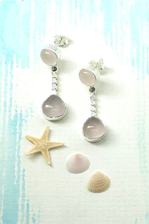 Oracle Earrings Dewdrop in Rose Quartz and 925 Silver