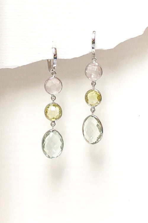 Earrings Trina in Silver with Rose Quartz, Citrine and Mint Quartz