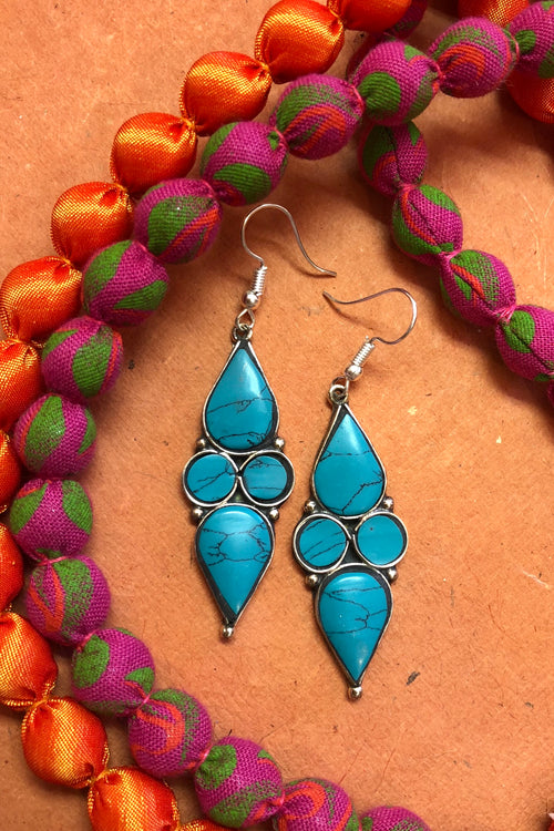 Earrings Paloma  Faux Turquoise Colour