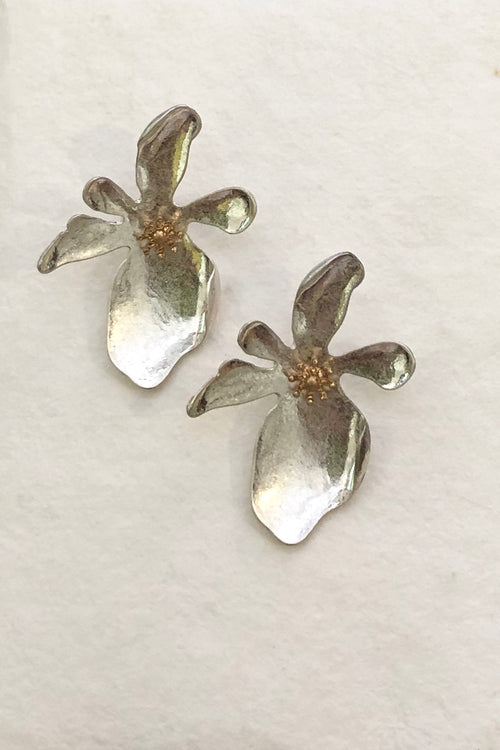 Earrings Dali Flower Silvery