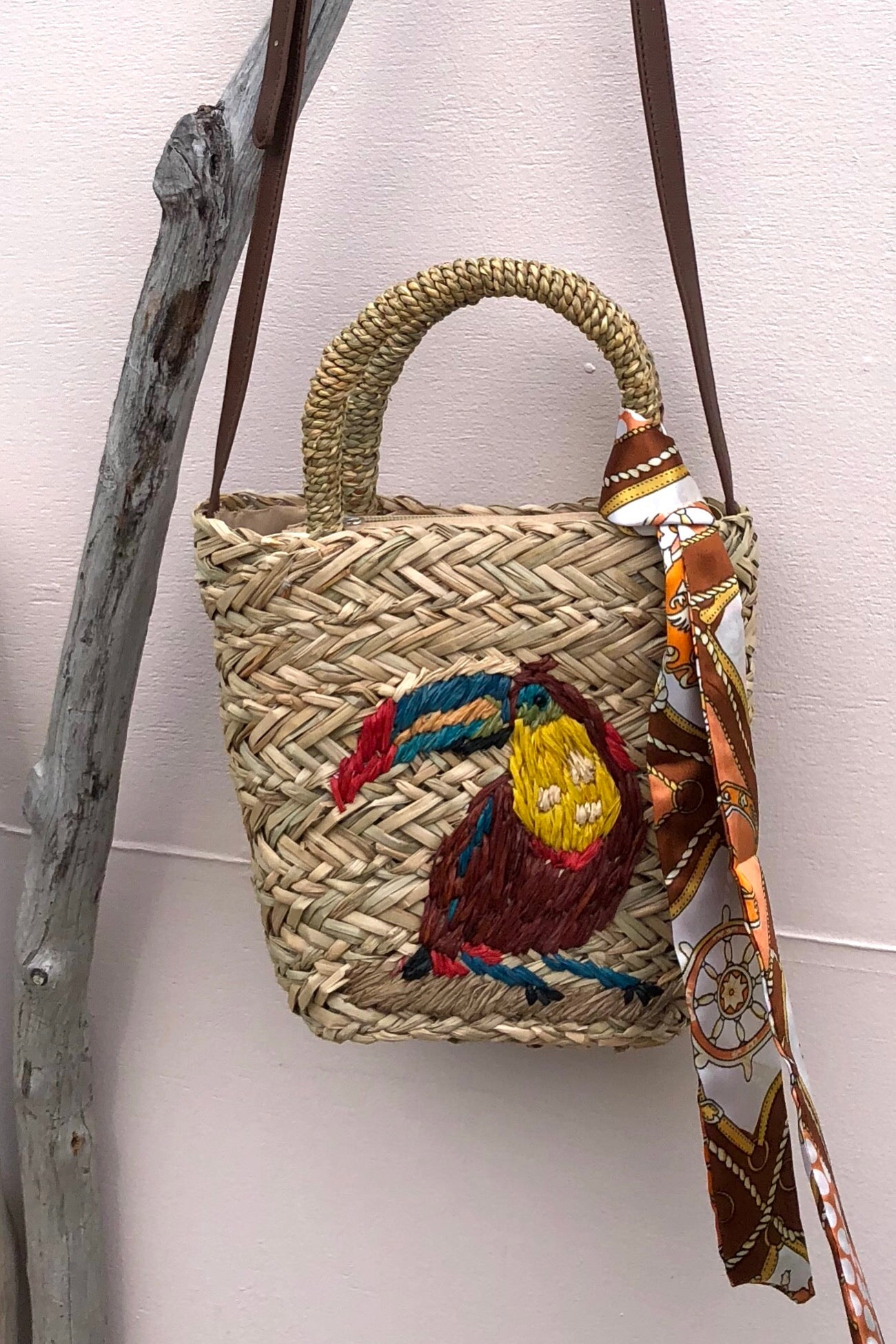 Bag Ava Toucan Embroidered on Straw, handmade straw bag with embroidery