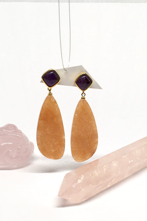 Earrings Ado Honey Quartz with Amethyst