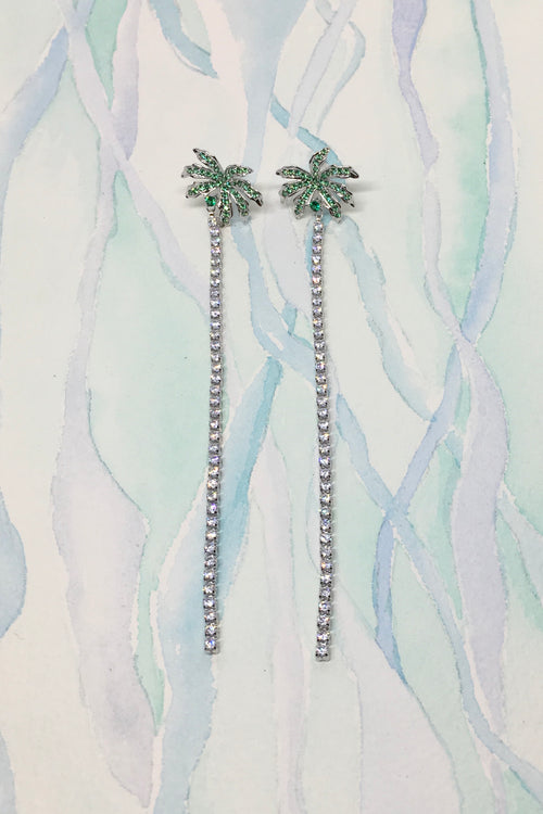 Earrings Palm Tree Diamante Silver or Gold