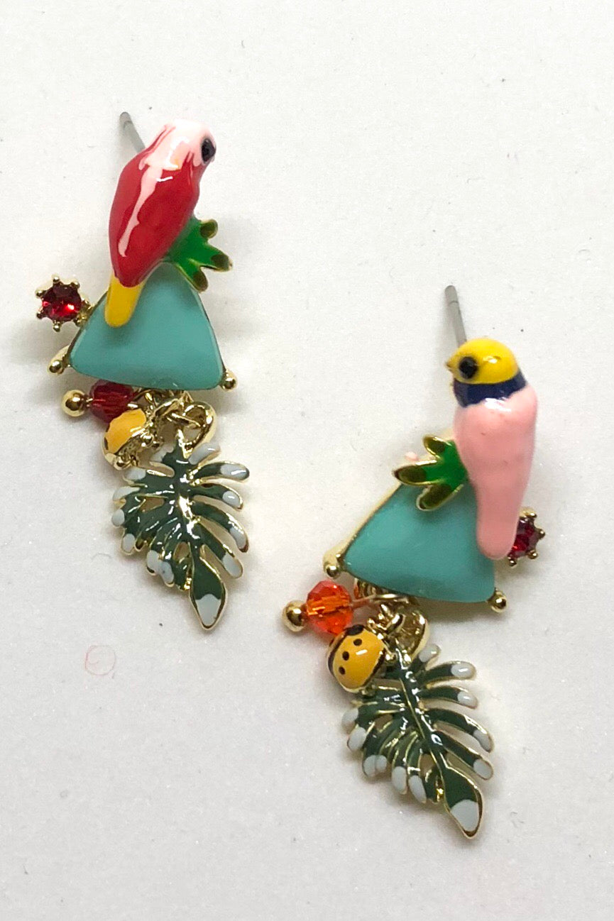 Earrings Secret Garden Lorikeet Pair