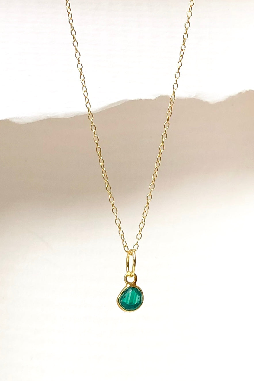 Luna Green Onyx Pendant, dainty green pendant on a silver chain