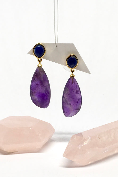 Earrings Ado Iris in Amethyst with Lapis Lazuli