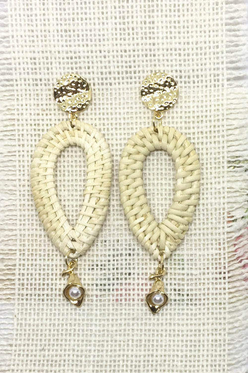 Earrings Rattan Drop with Arum Flower and Gold.