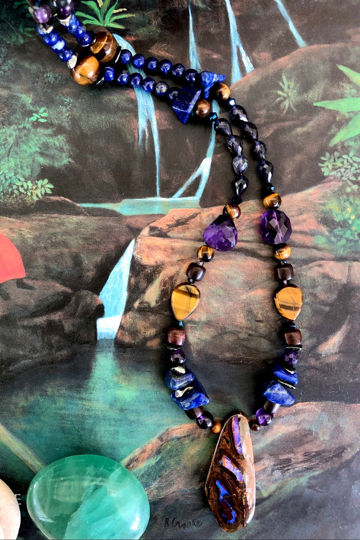 designer Australian Opal necklace has been designed using an array of semi precious gemstones