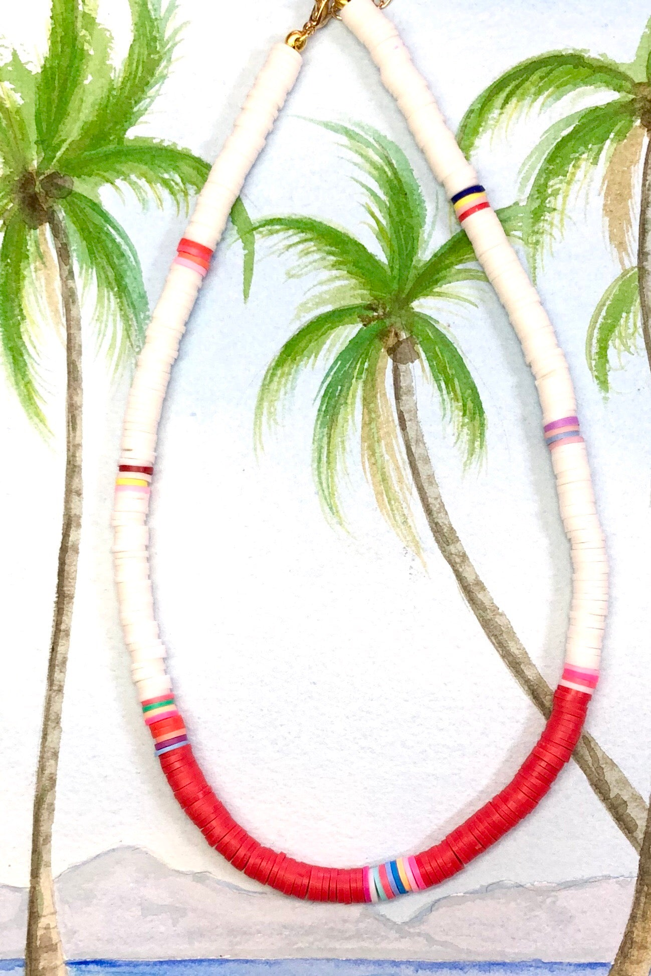 Necklace Summer Heishi White and Red, with bright waterproof beads in the brightest beach colours, and you can swim in this!