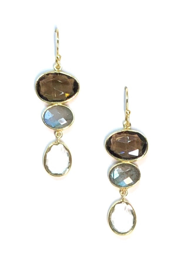Oracle Earrings Golden Smokey Moons