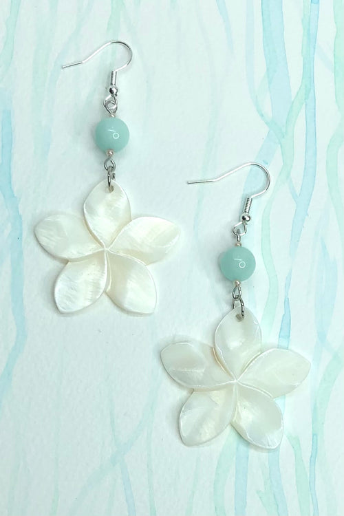 Earrings Frangipani Blue