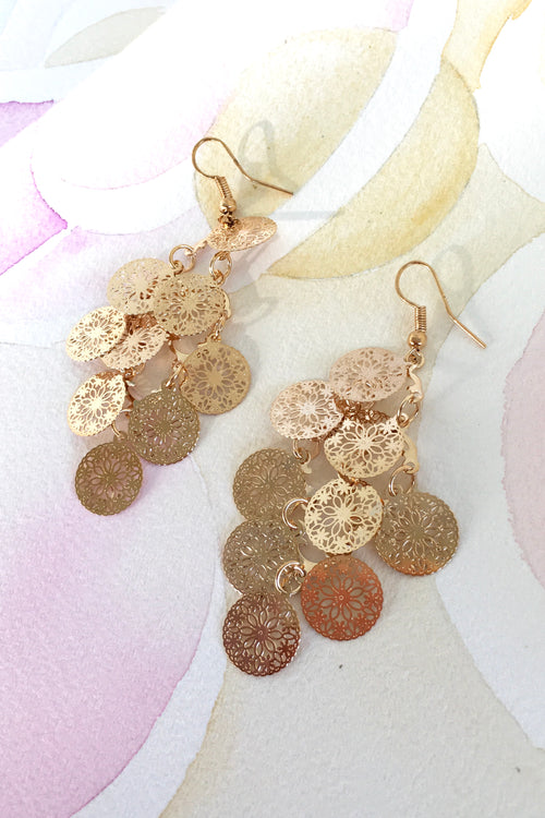 Earrings Flutter Coin Drop Golden