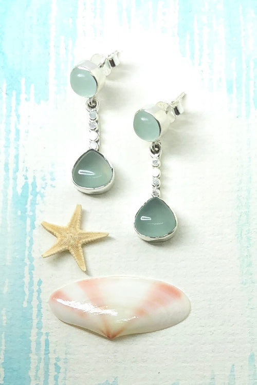 Oracle Earrings Dewdrop in Blue Chalcedony and 925 Silver