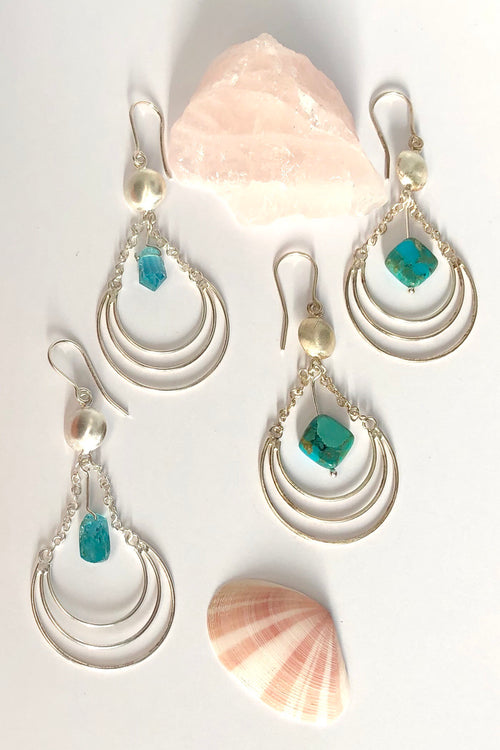 Earrings Pemba Silver Wire Domed Turquoise