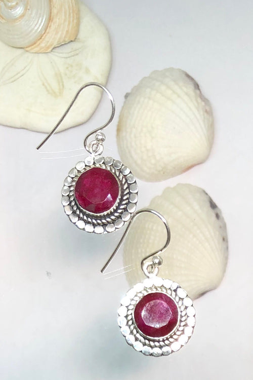 Oracle Earring Orb Ruby Flower in Silver