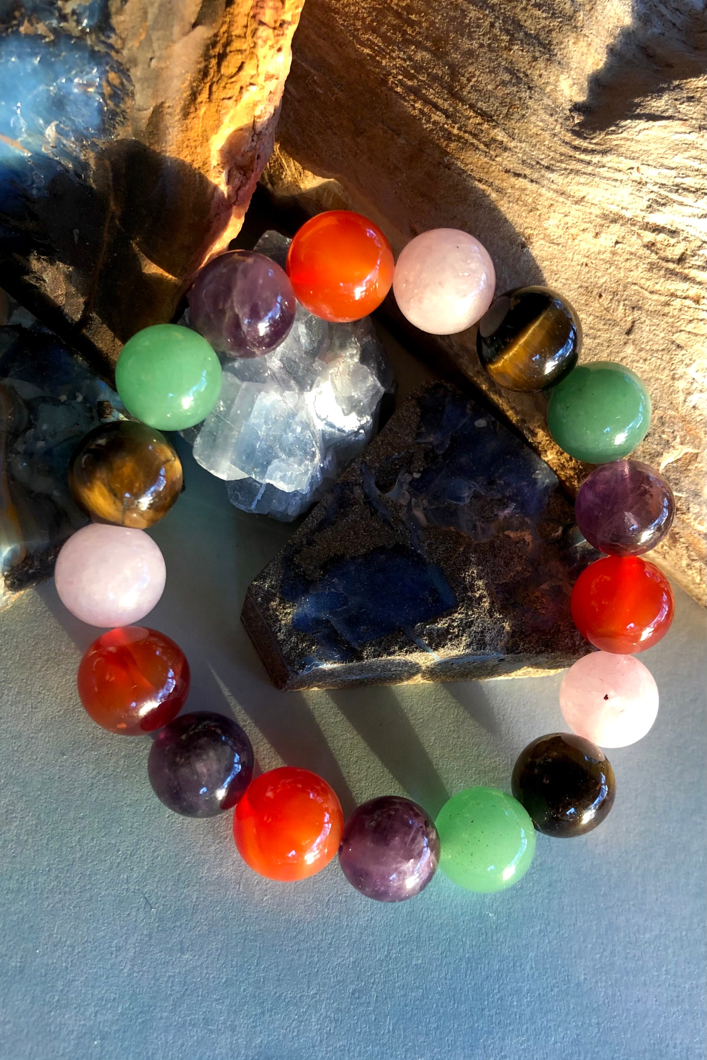 an exotic gemstone bracelet, in gorgeous gemstone colours, on a stretch band, this is perfect for summer.
