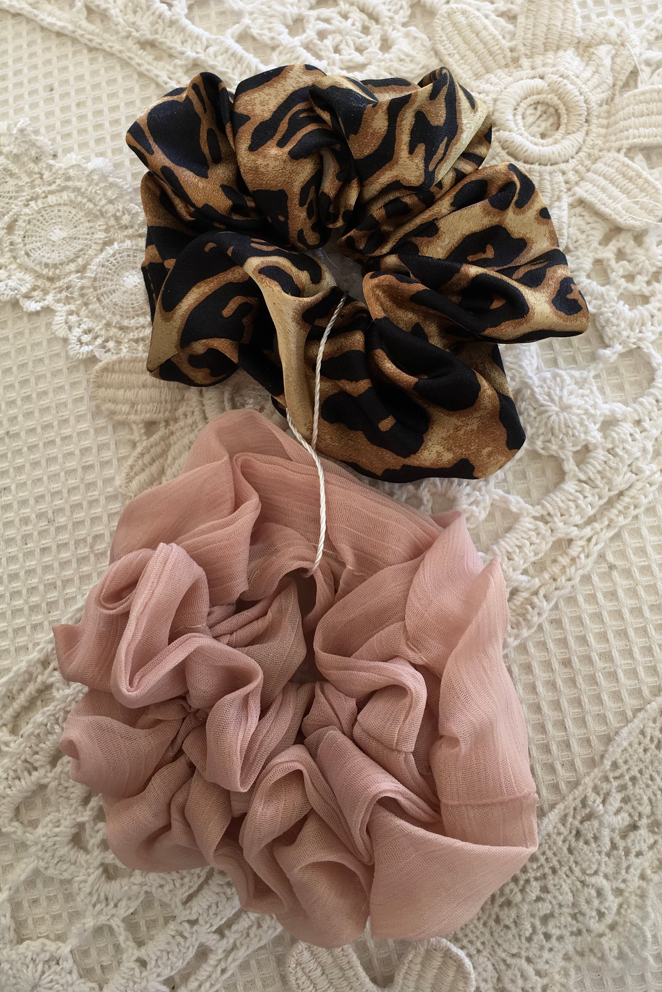 Scrunchie Set Tartan, Satin, Leopard Print