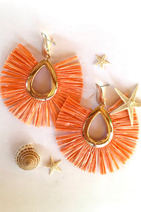 Earrings Raffia Orangina