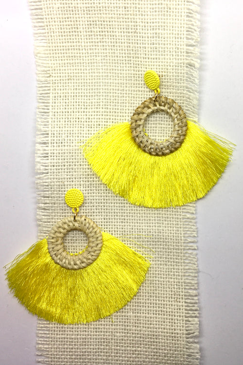 Earrings Rattan Circle with Yellow Tassels