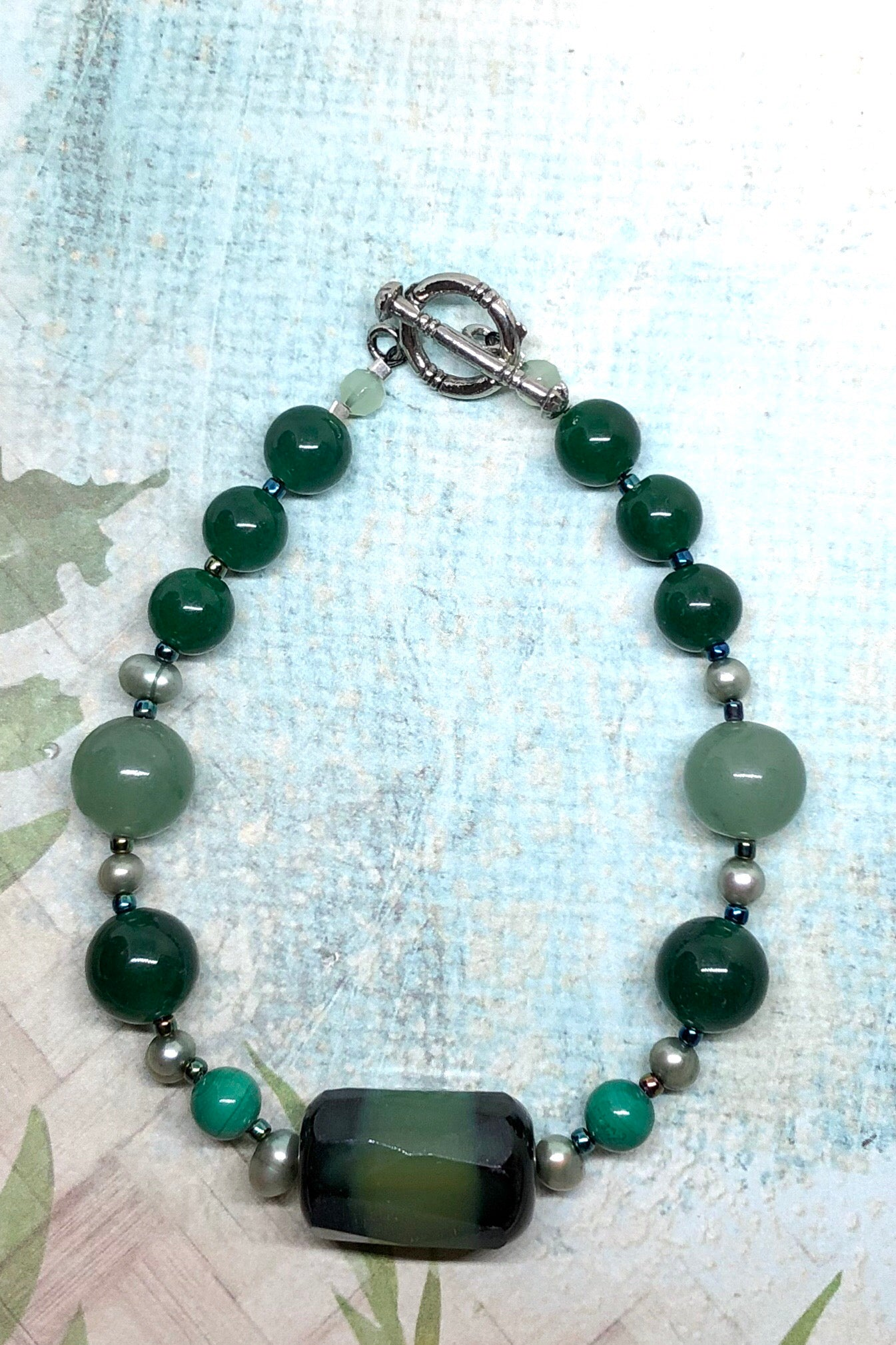 Natural pale green stone bracelet