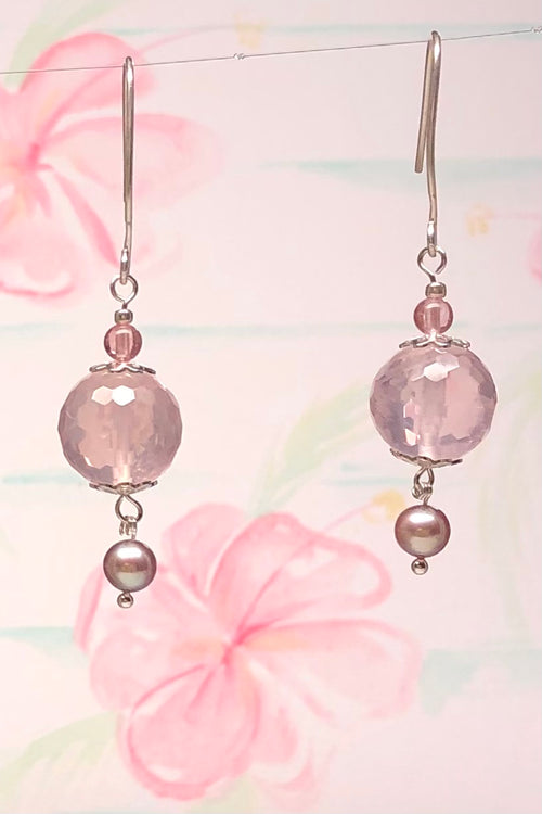 Earrings Serendipity Rose Quartz Ball